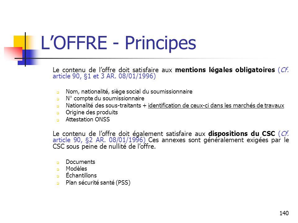 140 LOFFRE - Principes Le contenu de loffre doit satisfaire aux mentions légales obligatoires (Cf. article 90, §1 et 3 AR. 08/01/1996) Nom, nationalit
