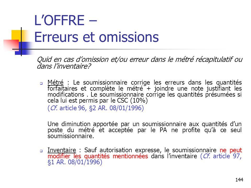 144 LOFFRE – Erreurs et omissions Quid en cas domission et/ou erreur dans le métré récapitulatif ou dans linventaire.