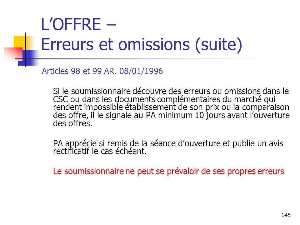 145 LOFFRE – Erreurs et omissions (suite) Articles 98 et 99 AR. 08/01/1996 Si le soumissionnaire découvre des erreurs ou omissions dans le CSC ou dans