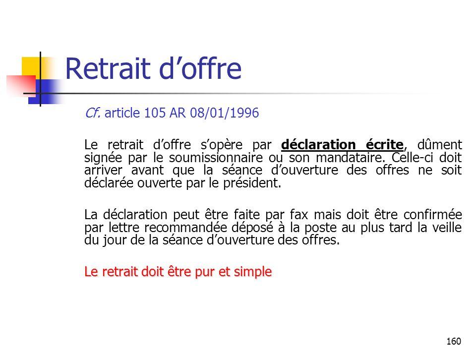 160 Retrait doffre Cf. article 105 AR 08/01/1996 Le retrait doffre sopère par déclaration écrite, dûment signée par le soumissionnaire ou son mandatai