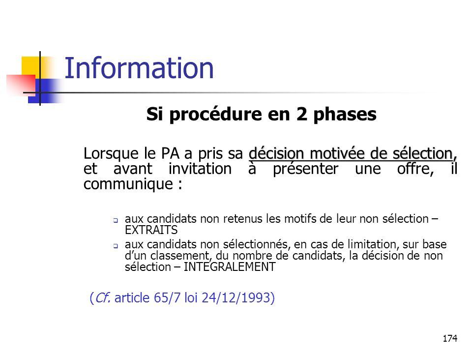 174 Information Si procédure en 2 phases décision motivée de sélection, Lorsque le PA a pris sa décision motivée de sélection, et avant invitation à p