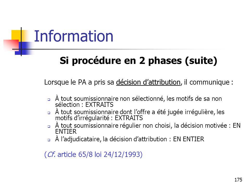 175 Information Si procédure en 2 phases (suite) décision dattribution Lorsque le PA a pris sa décision dattribution, il communique : À tout soumissio