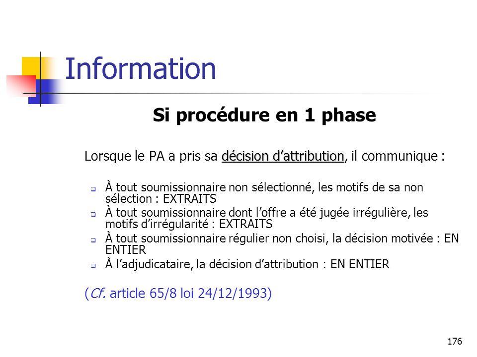 176 Information Si procédure en 1 phase décision dattribution Lorsque le PA a pris sa décision dattribution, il communique : À tout soumissionnaire no
