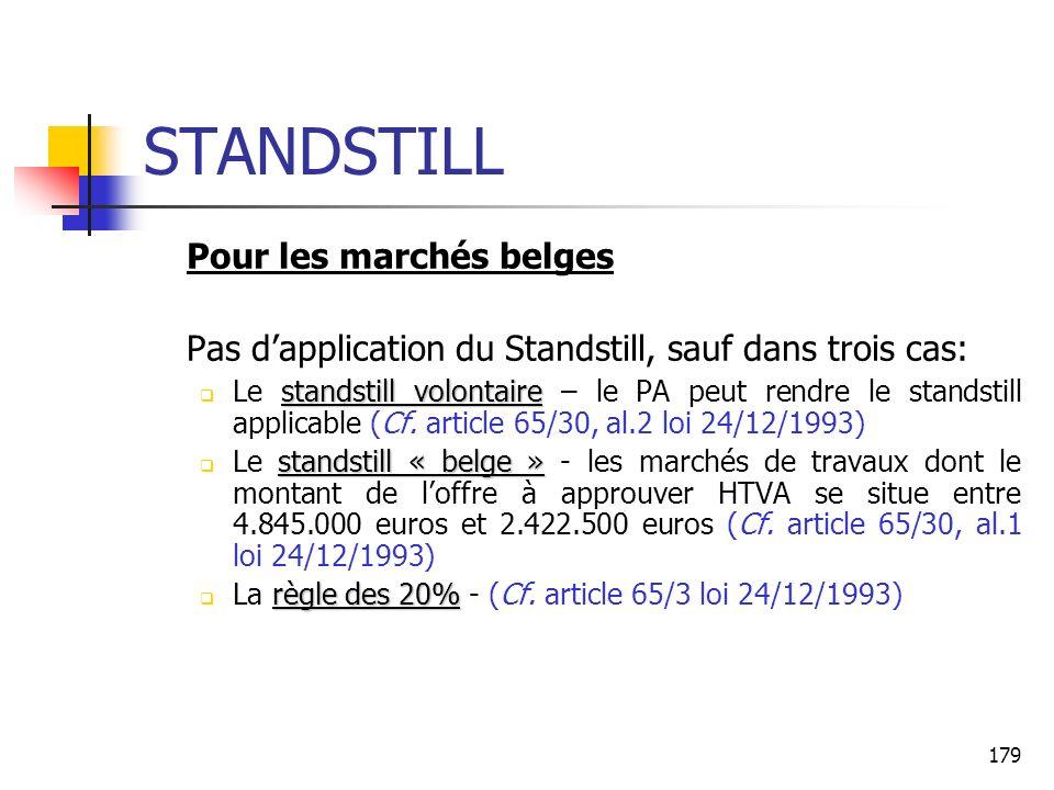 179 STANDSTILL Pour les marchés belges Pas dapplication du Standstill, sauf dans trois cas: standstill volontaire Le standstill volontaire – le PA peut rendre le standstill applicable (Cf.