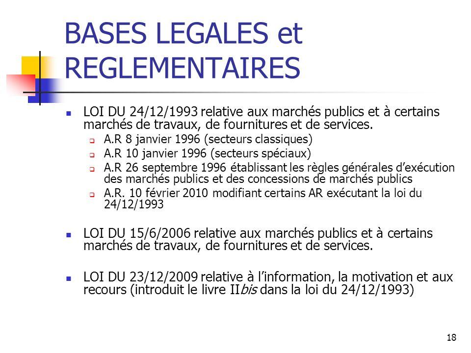 18 BASES LEGALES et REGLEMENTAIRES LOI DU 24/12/1993 relative aux marchés publics et à certains marchés de travaux, de fournitures et de services. A.R
