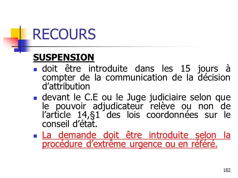 182 RECOURS SUSPENSION doit être introduite dans les 15 jours à compter de la communication de la décision dattribution devant le C.E ou le Juge judic