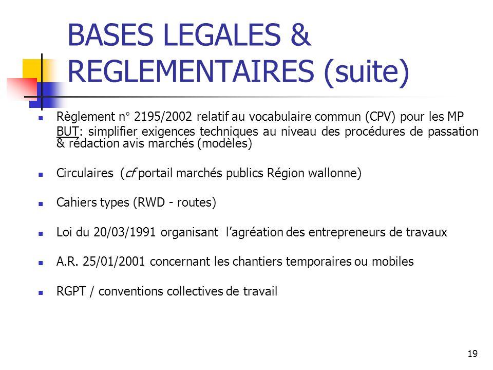19 BASES LEGALES & REGLEMENTAIRES (suite) Règlement n° 2195/2002 relatif au vocabulaire commun (CPV) pour les MP BUT: simplifier exigences techniques