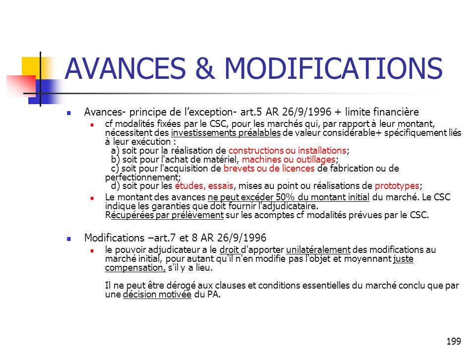 199 AVANCES & MODIFICATIONS Avances- principe de lexception- art.5 AR 26/9/1996 + limite financière cf modalités fixées par le CSC, pour les marchés qui, par rapport à leur montant, nécessitent des investissements préalables de valeur considérable+ spécifiquement liés à leur exécution : a) soit pour la réalisation de constructions ou installations; b) soit pour l achat de matériel, machines ou outillages; c) soit pour l acquisition de brevets ou de licences de fabrication ou de perfectionnement; d) soit pour les études, essais, mises au point ou réalisations de prototypes; Le montant des avances ne peut excéder 50% du montant initial du marché.