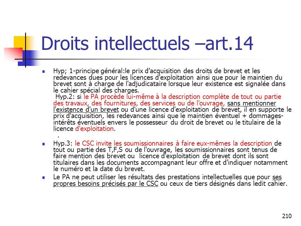 210 Droits intellectuels –art.14 Hyp; 1-principe général:le prix d'acquisition des droits de brevet et les redevances dues pour les licences d'exploit