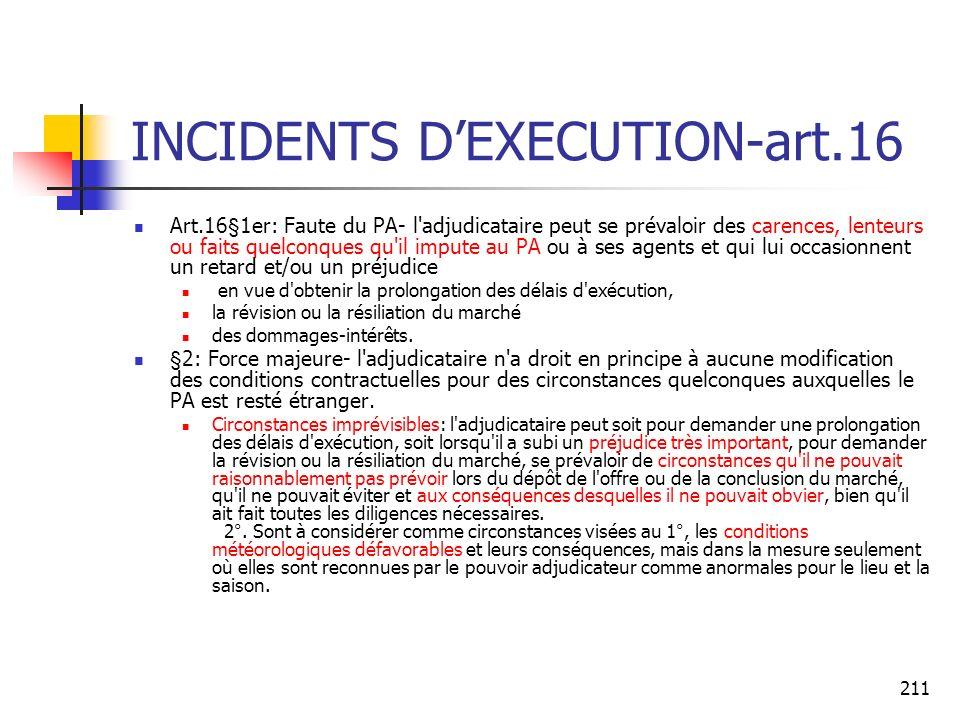 211 INCIDENTS DEXECUTION-art.16 Art.16§1er: Faute du PA- l'adjudicataire peut se prévaloir des carences, lenteurs ou faits quelconques qu'il impute au