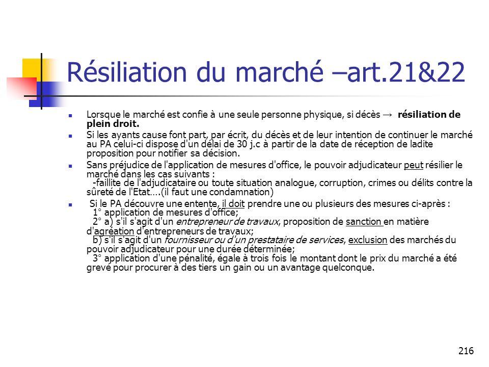 216 Résiliation du marché –art.21&22 Lorsque le marché est confie à une seule personne physique, si décès résiliation de plein droit.