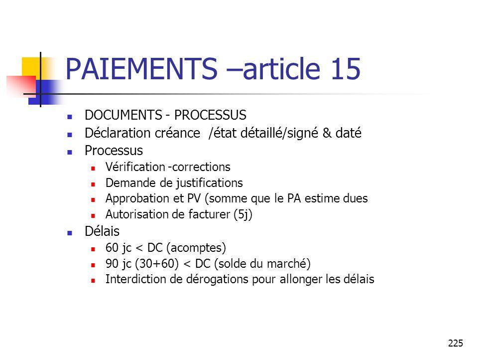 225 PAIEMENTS –article 15 DOCUMENTS - PROCESSUS Déclaration créance /état détaillé/signé & daté Processus Vérification -corrections Demande de justifi