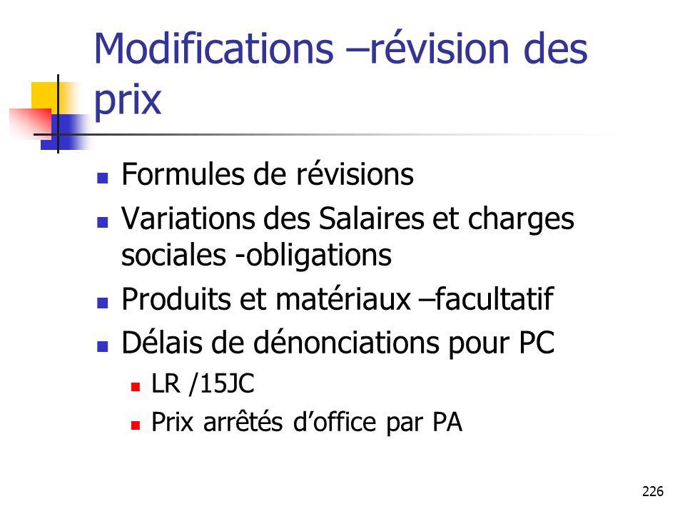 226 Modifications –révision des prix Formules de révisions Variations des Salaires et charges sociales -obligations Produits et matériaux –facultatif
