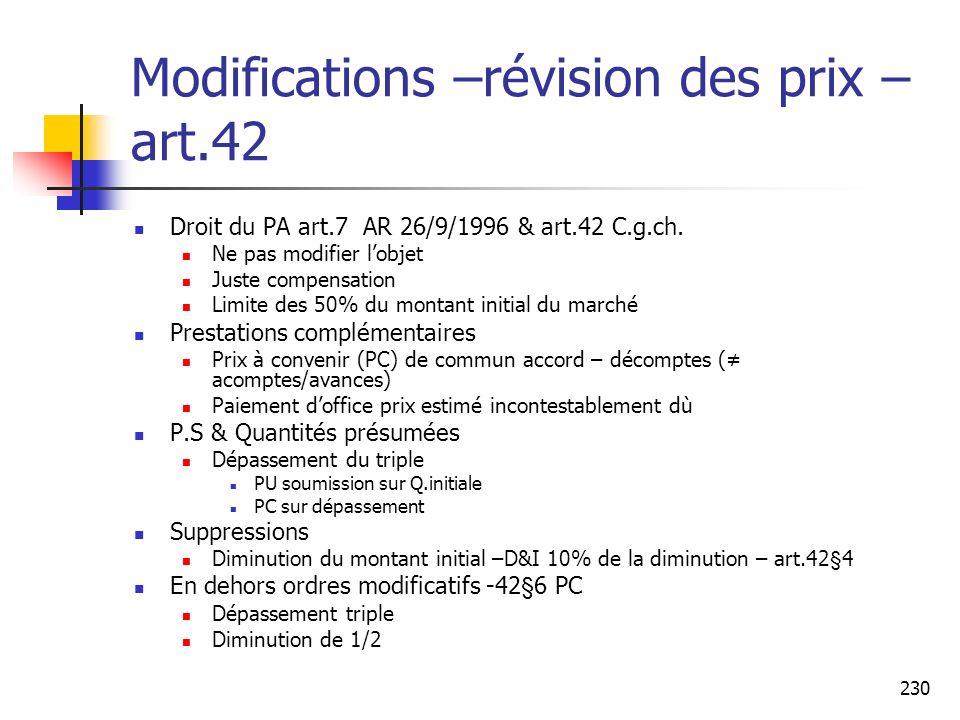 230 Modifications –révision des prix – art.42 Droit du PA art.7 AR 26/9/1996 & art.42 C.g.ch. Ne pas modifier lobjet Juste compensation Limite des 50%