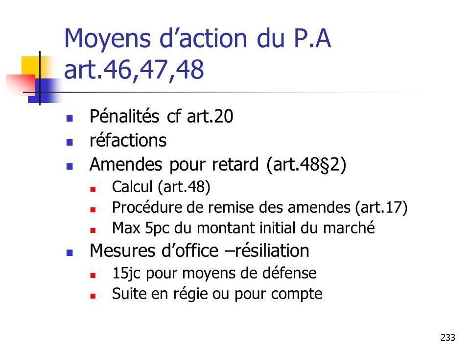 233 Moyens daction du P.A art.46,47,48 Pénalités cf art.20 réfactions Amendes pour retard (art.48§2) Calcul (art.48) Procédure de remise des amendes (