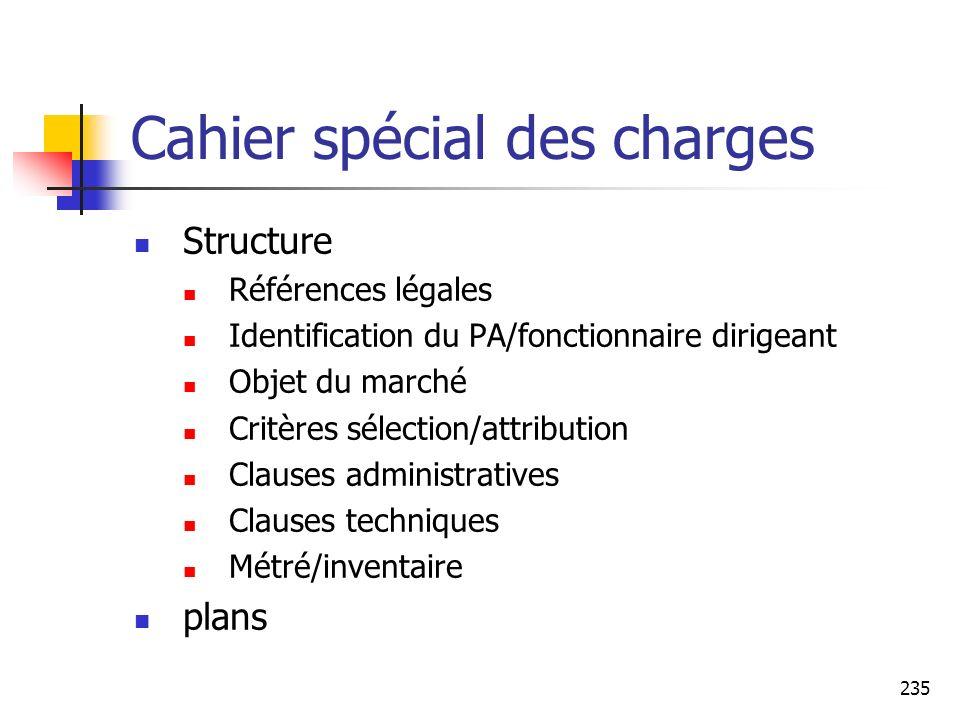 235 Cahier spécial des charges Structure Références légales Identification du PA/fonctionnaire dirigeant Objet du marché Critères sélection/attributio