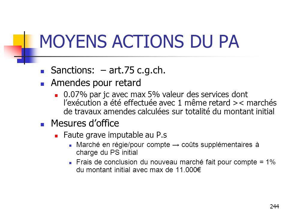 244 MOYENS ACTIONS DU PA Sanctions: – art.75 c.g.ch. Amendes pour retard 0.07% par jc avec max 5% valeur des services dont lexécution a été effectuée