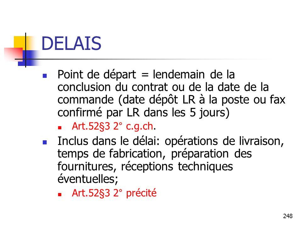 248 DELAIS Point de départ = lendemain de la conclusion du contrat ou de la date de la commande (date dépôt LR à la poste ou fax confirmé par LR dans les 5 jours) Art.52§3 2° c.g.ch.