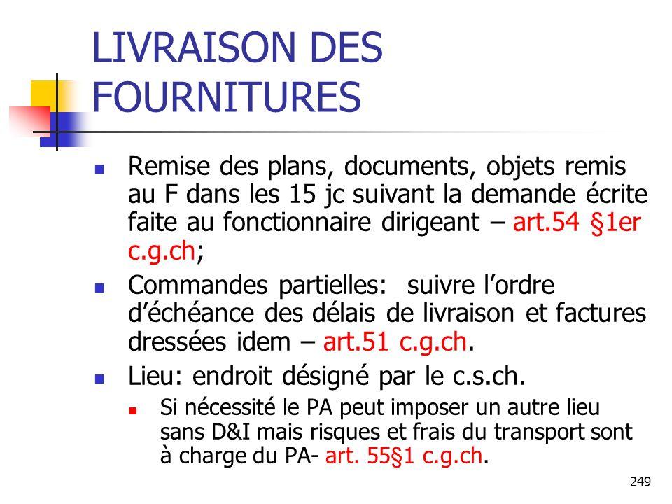 249 LIVRAISON DES FOURNITURES Remise des plans, documents, objets remis au F dans les 15 jc suivant la demande écrite faite au fonctionnaire dirigeant