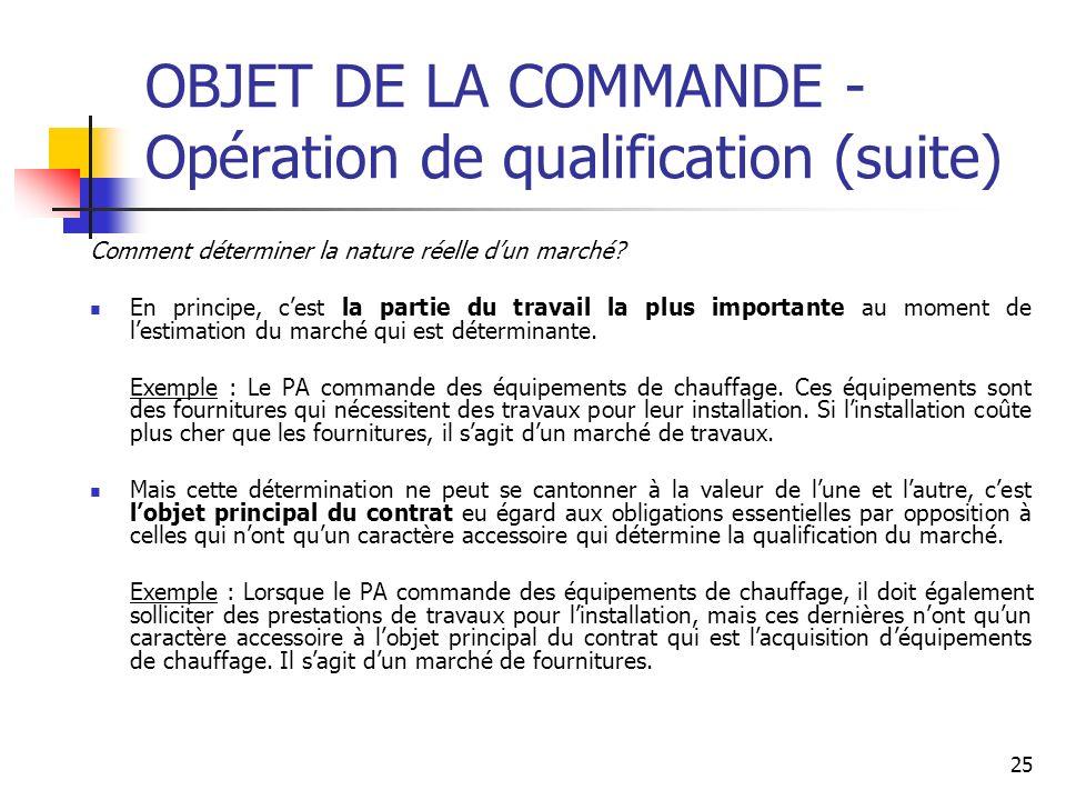 25 OBJET DE LA COMMANDE - Opération de qualification (suite) Comment déterminer la nature réelle dun marché? En principe, cest la partie du travail la