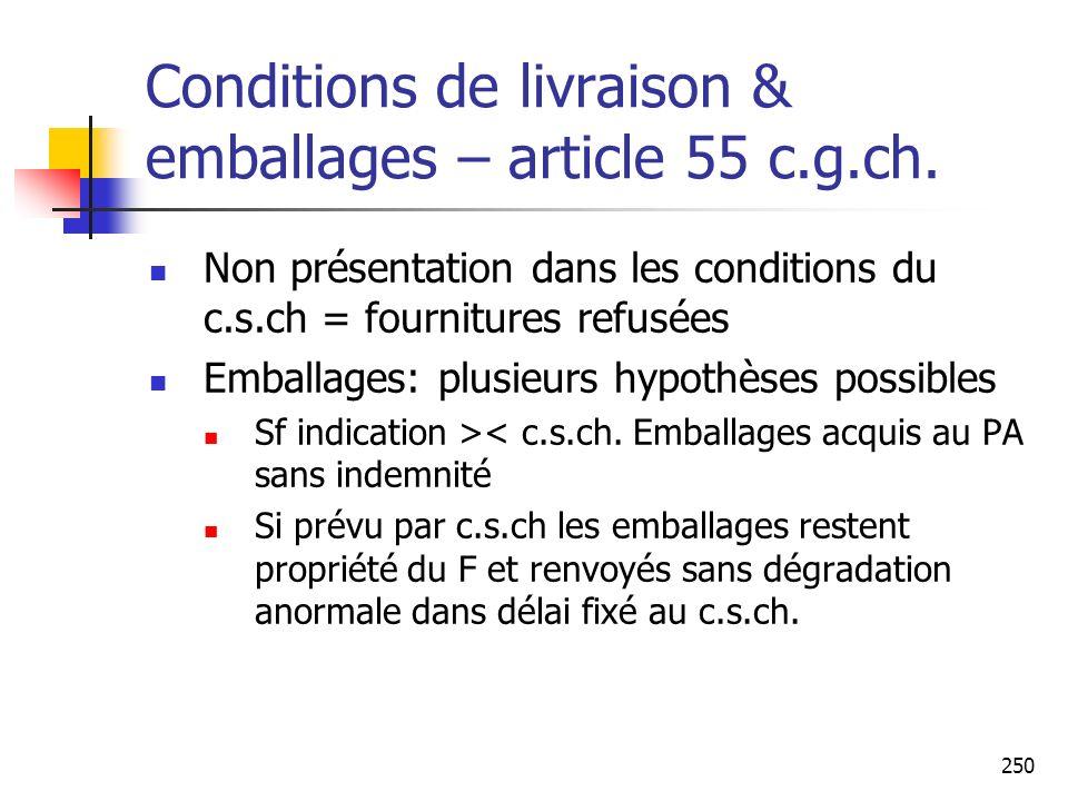 250 Conditions de livraison & emballages – article 55 c.g.ch. Non présentation dans les conditions du c.s.ch = fournitures refusées Emballages: plusie