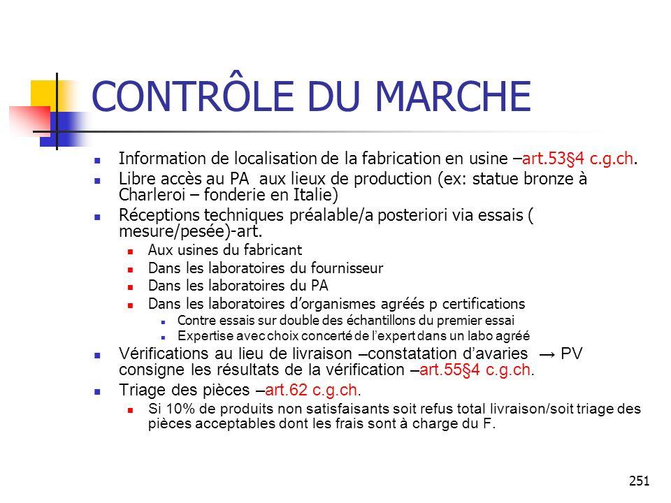 251 CONTRÔLE DU MARCHE Information de localisation de la fabrication en usine –art.53§4 c.g.ch. Libre accès au PA aux lieux de production (ex: statue