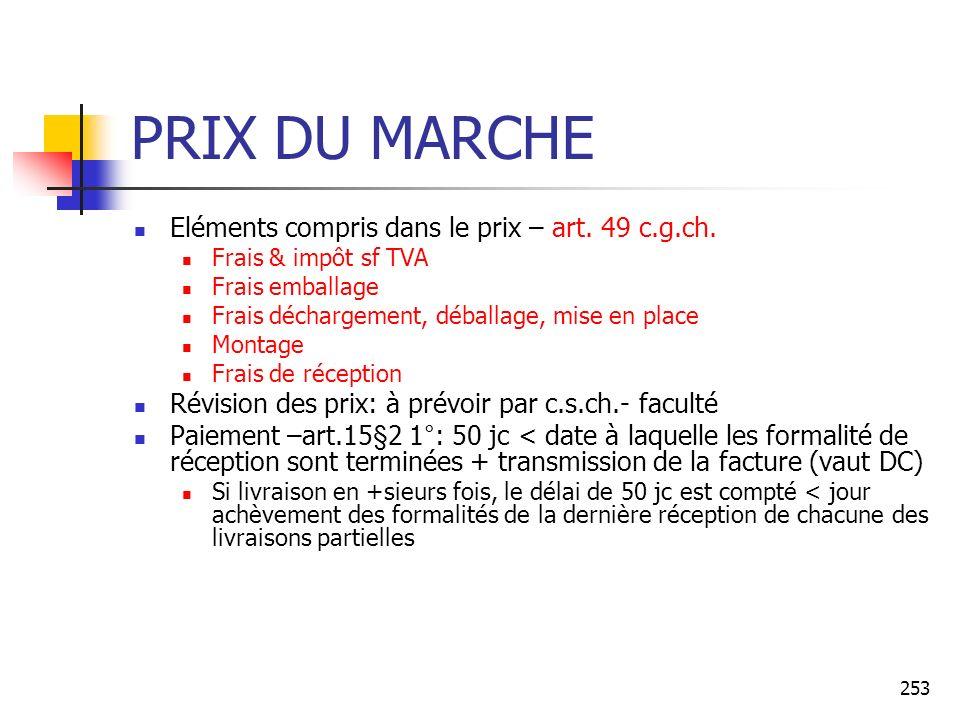 253 PRIX DU MARCHE Eléments compris dans le prix – art. 49 c.g.ch. Frais & impôt sf TVA Frais emballage Frais déchargement, déballage, mise en place M