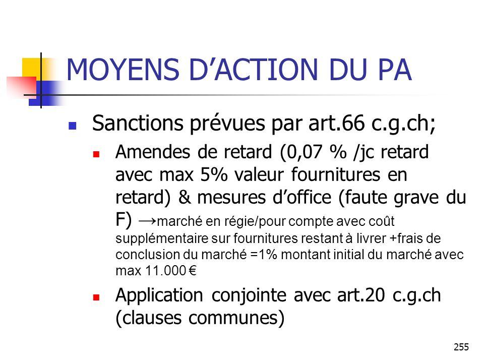255 MOYENS DACTION DU PA Sanctions prévues par art.66 c.g.ch; Amendes de retard (0,07 % /jc retard avec max 5% valeur fournitures en retard) & mesures doffice (faute grave du F) marché en régie/pour compte avec coût supplémentaire sur fournitures restant à livrer +frais de conclusion du marché =1% montant initial du marché avec max 11.000 Application conjointe avec art.20 c.g.ch (clauses communes)