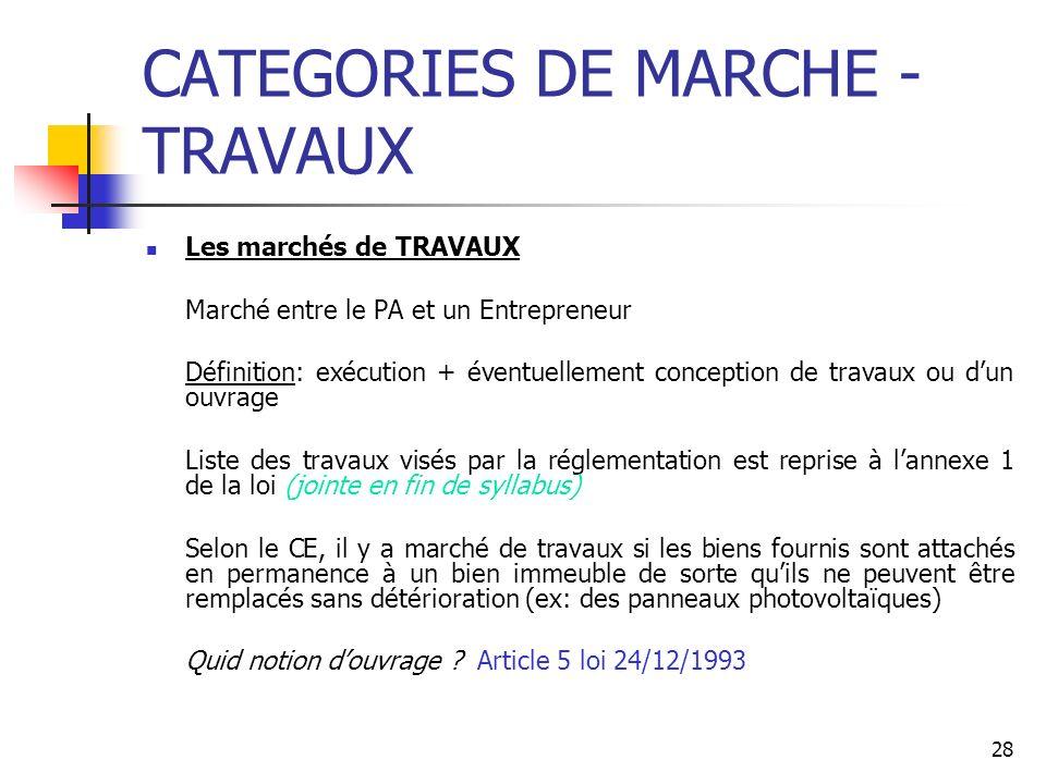 28 CATEGORIES DE MARCHE - TRAVAUX Les marchés de TRAVAUX Marché entre le PA et un Entrepreneur Définition: exécution + éventuellement conception de tr