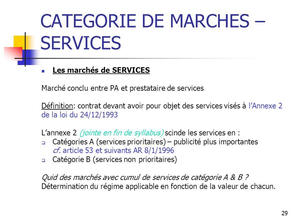 29 CATEGORIE DE MARCHES – SERVICES Les marchés de SERVICES Marché conclu entre PA et prestataire de services Définition: contrat devant avoir pour obj