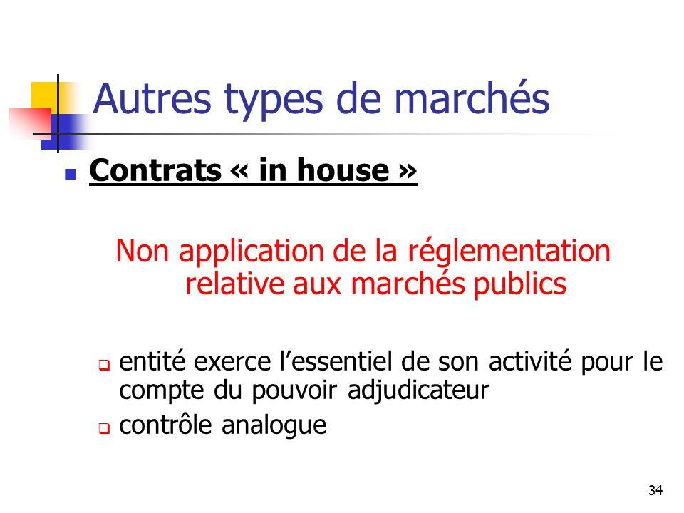 34 Autres types de marchés Contrats « in house » Non application de la réglementation relative aux marchés publics entité exerce lessentiel de son act