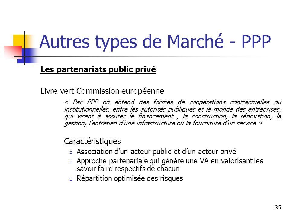 35 Autres types de Marché - PPP Les partenariats public privé Livre vert Commission européenne « Par PPP on entend des formes de coopérations contract