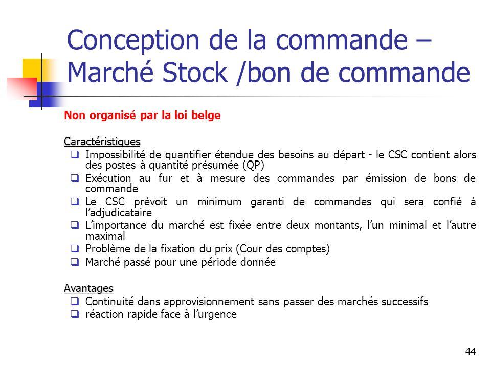 44 Conception de la commande – Marché Stock /bon de commande Non organisé par la loi belgeCaractéristiques Impossibilité de quantifier étendue des bes