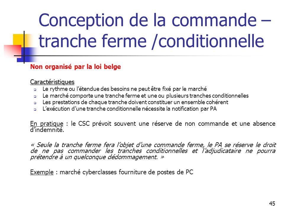 45 Conception de la commande – tranche ferme /conditionnelle Non organisé par la loi belgeCaractéristiques Le rythme ou létendue des besoins ne peut ê