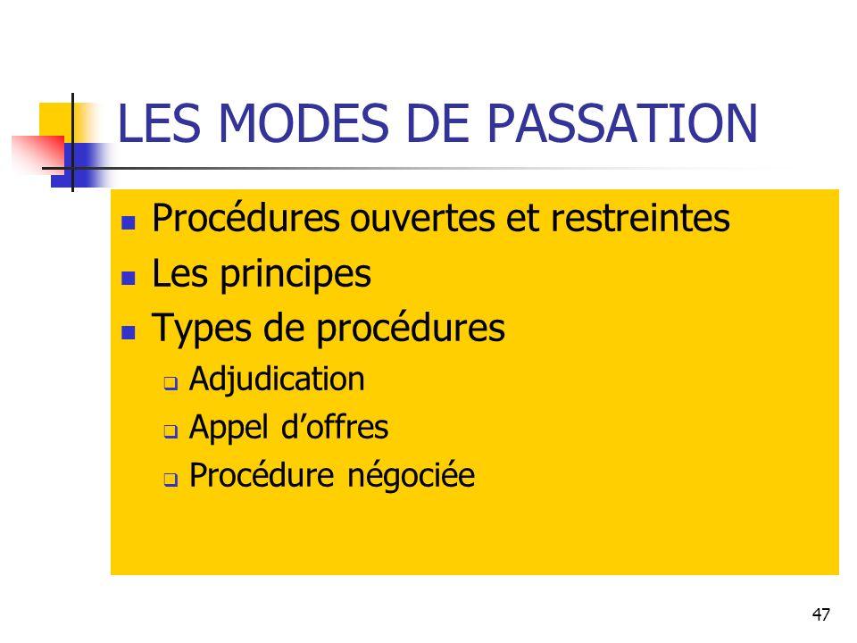 47 LES MODES DE PASSATION Procédures ouvertes et restreintes Les principes Types de procédures Adjudication Appel doffres Procédure négociée