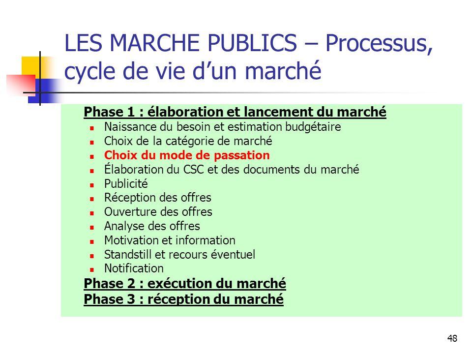 48 LES MARCHE PUBLICS – Processus, cycle de vie dun marché Phase 1 : élaboration et lancement du marché Naissance du besoin et estimation budgétaire C