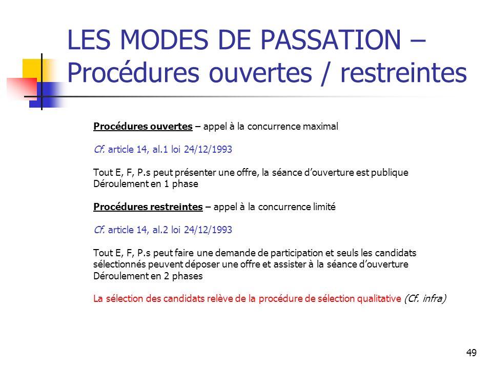 49 LES MODES DE PASSATION – Procédures ouvertes / restreintes Procédures ouvertes – appel à la concurrence maximal Cf. article 14, al.1 loi 24/12/1993