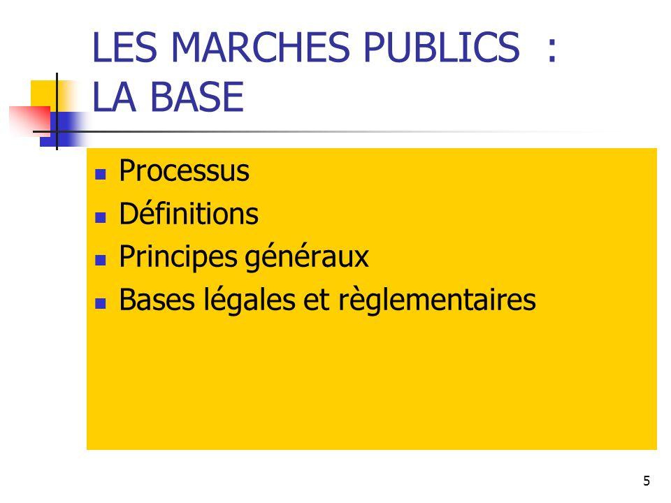 5 LES MARCHES PUBLICS : LA BASE Processus Définitions Principes généraux Bases légales et règlementaires