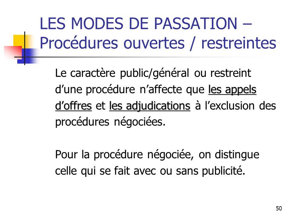 50 LES MODES DE PASSATION – Procédures ouvertes / restreintes Le caractère public/général ou restreint les appels dune procédure naffecte que les appe