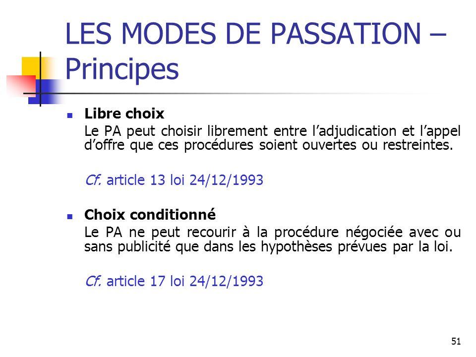 51 LES MODES DE PASSATION – Principes Libre choix Le PA peut choisir librement entre ladjudication et lappel doffre que ces procédures soient ouvertes ou restreintes.