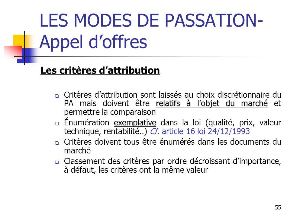 55 LES MODES DE PASSATION- Appel doffres Les critères dattribution relatifs à lobjet du marché Critères dattribution sont laissés au choix discrétionn