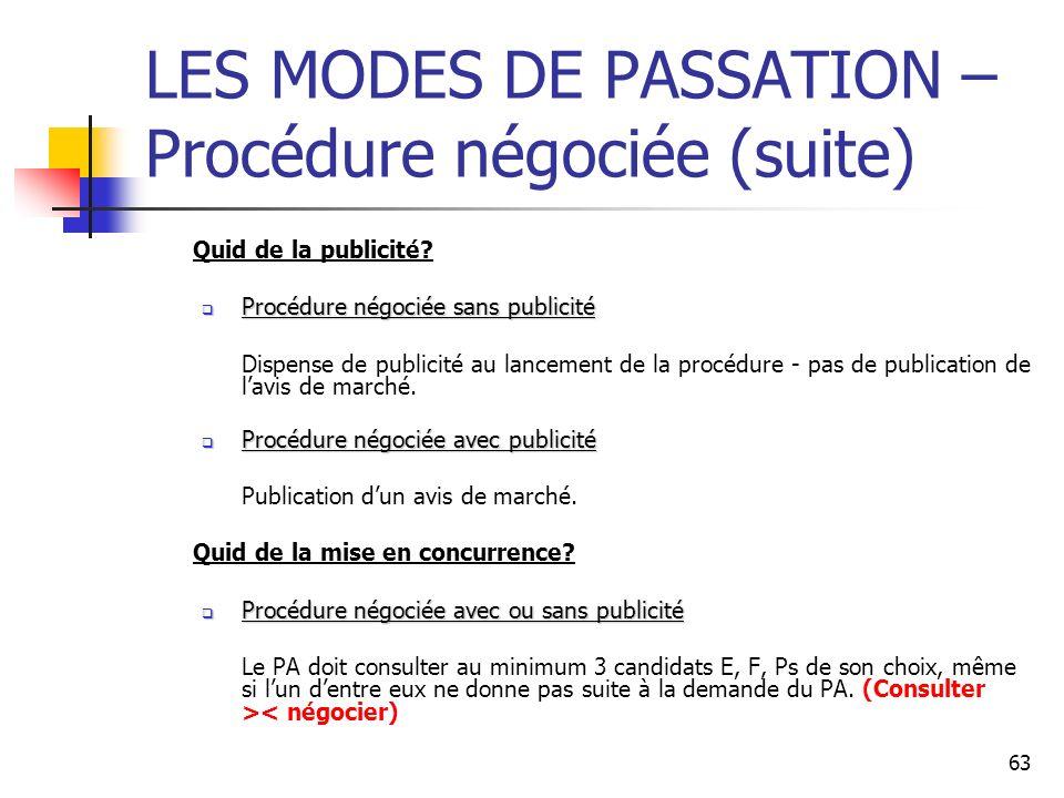 63 LES MODES DE PASSATION – Procédure négociée (suite) Quid de la publicité? Procédure négociée sans publicité Procédure négociée sans publicité Dispe