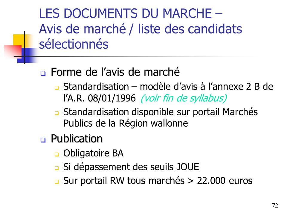 72 LES DOCUMENTS DU MARCHE – Avis de marché / liste des candidats sélectionnés Forme Forme de lavis de marché Standardisation – modèle davis à lannexe