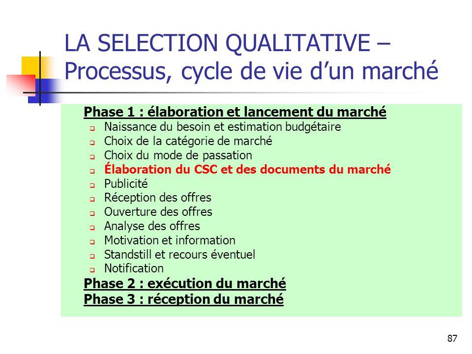 87 LA SELECTION QUALITATIVE – Processus, cycle de vie dun marché Phase 1 : élaboration et lancement du marché Naissance du besoin et estimation budgét