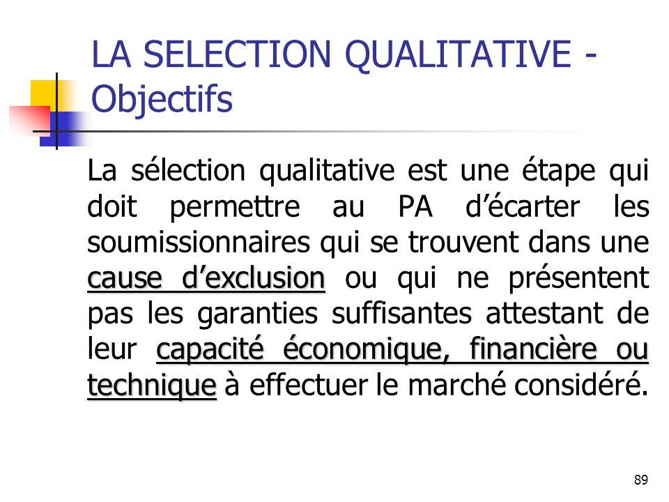 89 LA SELECTION QUALITATIVE - Objectifs cause dexclusion capacité économique, financière ou technique La sélection qualitative est une étape qui doit