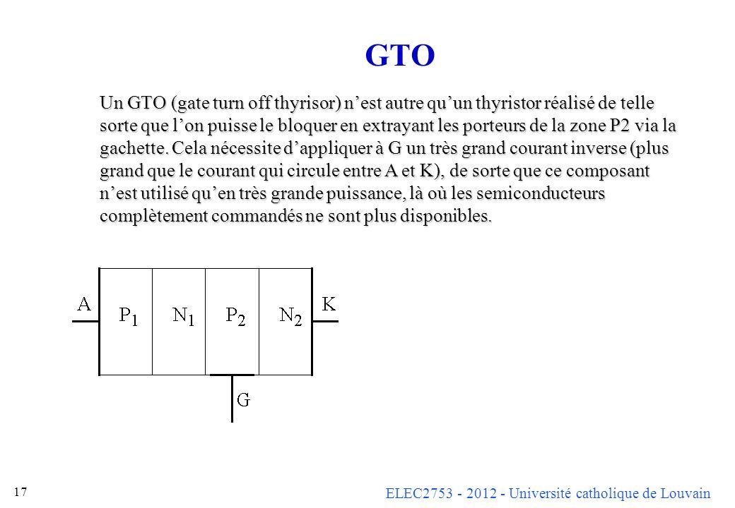 ELEC2753 - 2012 - Université catholique de Louvain 17 GTO Un GTO (gate turn off thyrisor) nest autre quun thyristor réalisé de telle sorte que lon pui