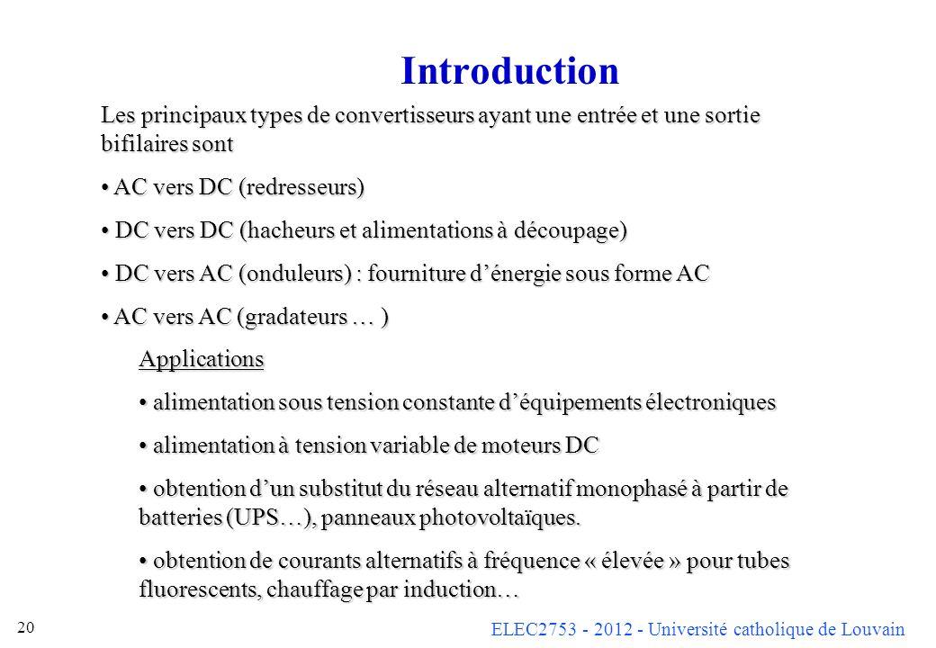 ELEC2753 - 2012 - Université catholique de Louvain 20 Introduction Les principaux types de convertisseurs ayant une entrée et une sortie bifilaires so