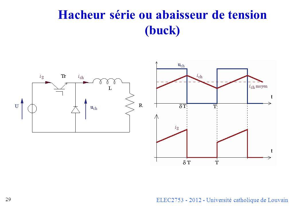 ELEC2753 - 2012 - Université catholique de Louvain 29 Hacheur série ou abaisseur de tension (buck)
