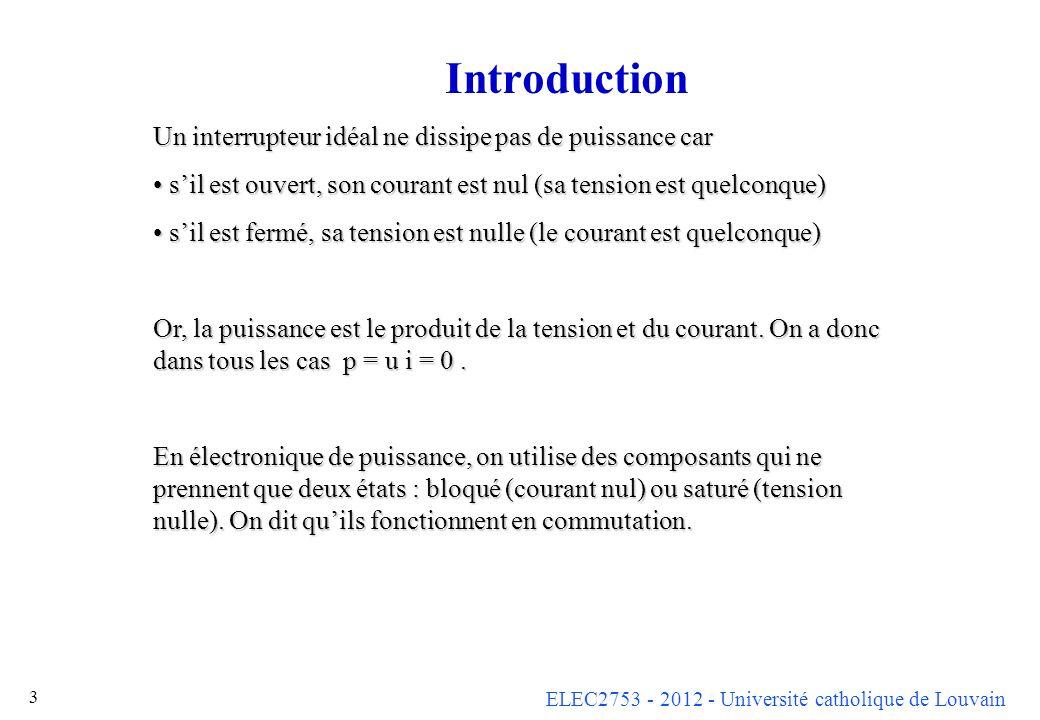ELEC2753 - 2012 - Université catholique de Louvain 3 Introduction Un interrupteur idéal ne dissipe pas de puissance car sil est ouvert, son courant es