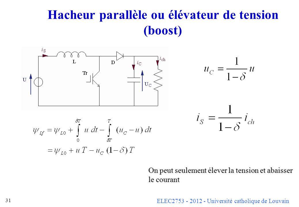 ELEC2753 - 2012 - Université catholique de Louvain 31 Hacheur parallèle ou élévateur de tension (boost) On peut seulement élever la tension et abaisse